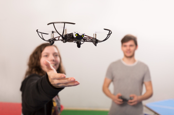 Students with a quadcopter